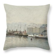 Winter Landscape Over Skeppsbron, Stockholm Throw Pillow
