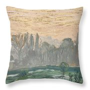 Winter Landscape With Evening Sky Throw Pillow