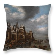 Winter Landscape With Horses Sleighs And Skaters In Front Of A Fortified Town, Throw Pillow