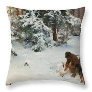 Winter Landscape With Hunters And Dogs Throw Pillow