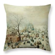 Winter Landscape With Ice Skaters1608 Throw Pillow