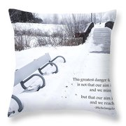 winter landscape with Inspirational Text Throw Pillow