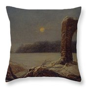 Winter Landscape With Ruined Arch Throw Pillow
