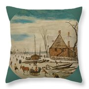 Winter Landscape With Skaters And A Farm House Throw Pillow