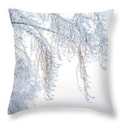 Winter Landscape With Snow-covered Trees Throw Pillow