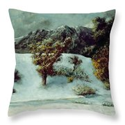 Winter Landscape With The Dents Du Midi Throw Pillow by Gustave Courbet