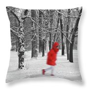 Winter Landscape With Walking Gir In Red. Blac White Concept Gra Throw Pillow
