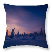 Winter Lanscape With Sunset, Trees And Cliffs Over The Snow. Throw Pillow