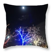 Winter Lights Full Moon Throw Pillow