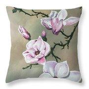 Winter Magnolia Blooms Throw Pillow