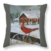 Winter Male Cardinal Throw Pillow