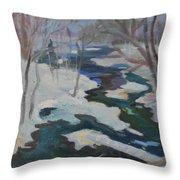 Winter Mill Stream  Throw Pillow