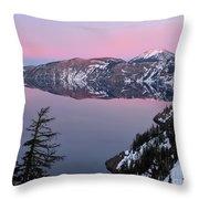 Winter Mirror At Crater Lake Throw Pillow