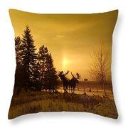 Winter Moose Statue Throw Pillow