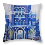 Winter Morning On Campus Throw Pillow