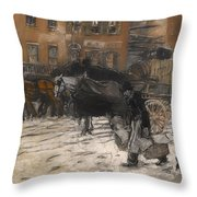 Winter On 21st Street - New York Throw Pillow