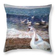 Winter On A Beach In Feodosiya. Crimea Throw Pillow