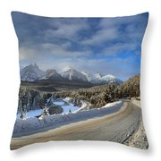 Morant's Curve On The Bow Valley Parkway Throw Pillow