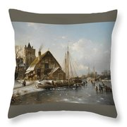 Winter On The Rhine Throw Pillow