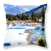 Winter On The River Throw Pillow