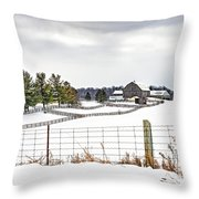 Winter Ontario Farm 3 Throw Pillow