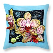 Winter Orchids Throw Pillow