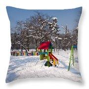 Winter Playground Throw Pillow