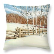 Winter Poplars 2 Throw Pillow
