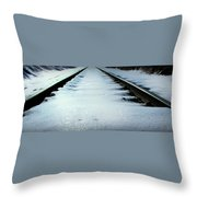 Winter Railroad Tracks Throw Pillow