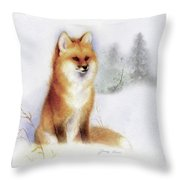 Winter Red Fox Throw Pillow