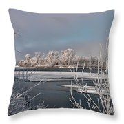 Winter River Light Throw Pillow