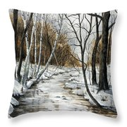 Winter River Throw Pillow