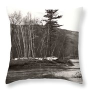 Winter River Number One Throw Pillow