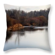 Winter Riverbank Throw Pillow