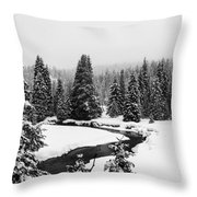 Winter Riverscape Throw Pillow