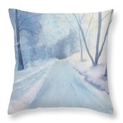 Winter Road Krkonose Mountains, From Photo By Milos Polacek Throw Pillow