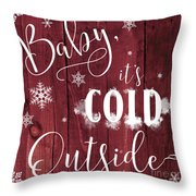 Winter Rustic Wood Sign Throw Pillow