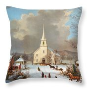 Winter Scene, C1875 Throw Pillow