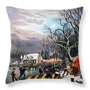 Winter Scene: Evening 1854 Throw Pillow