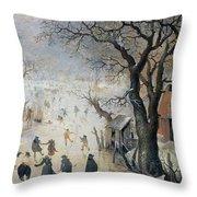 Winter Scene Throw Pillow by Hendrik Avercamp