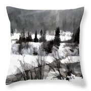 Winter Scene In Black And White Throw Pillow