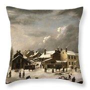 Winter Scene In Brooklyn Throw Pillow