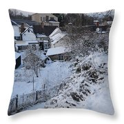 Winter Scene In North Wales Throw Pillow