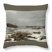 Winter Scene In Pennsylvania Throw Pillow