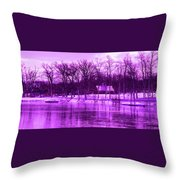 Winter Scene In Violet Throw Pillow