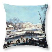 Winter Scene: Morning 1854 Throw Pillow