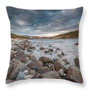 Winter Sea In Porto Frailis Throw Pillow