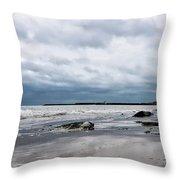 Winter Seascape 2 - Lyme Regis Throw Pillow