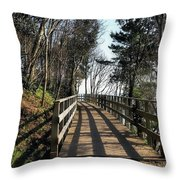Winter Shadows At The Bridge Throw Pillow