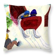 Winter Sleigh Ride Through The Tunnel Throw Pillow
